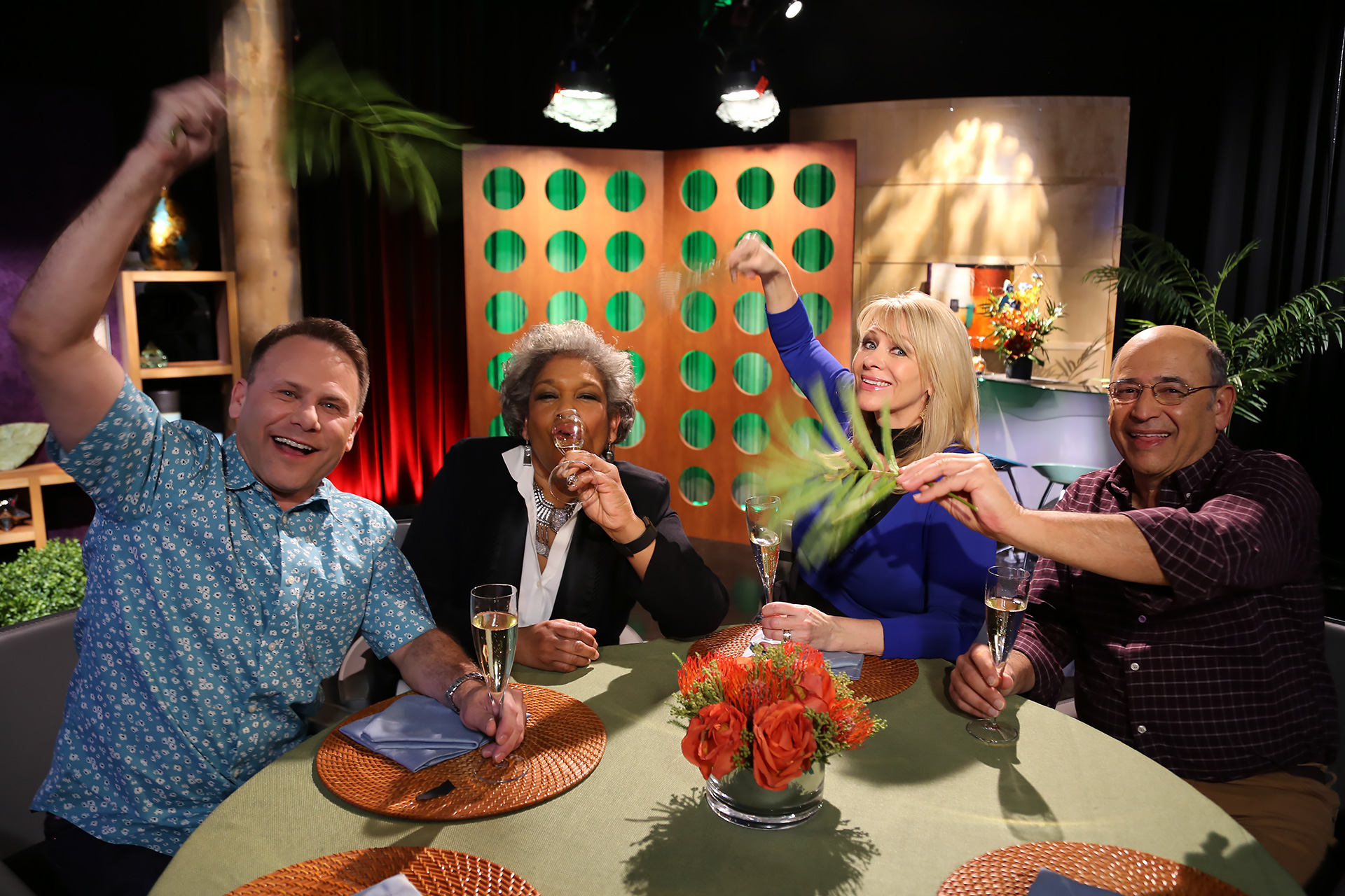Host Leslie Sbrocco and guests having fun on the set of the premiere episode of season 13.