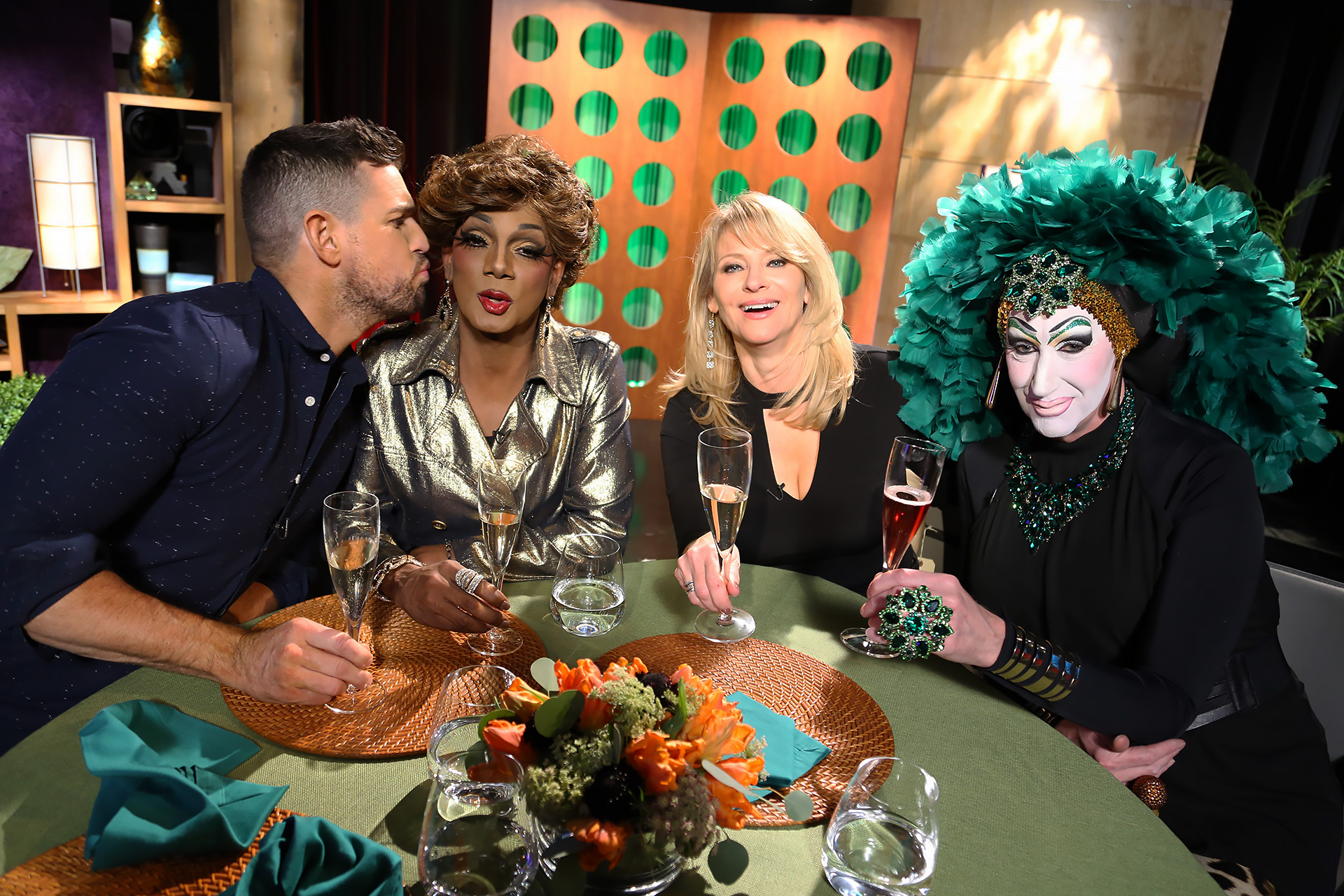 Host Leslie Sbrocco and guests having fun on the set of season 13 episode 2.
