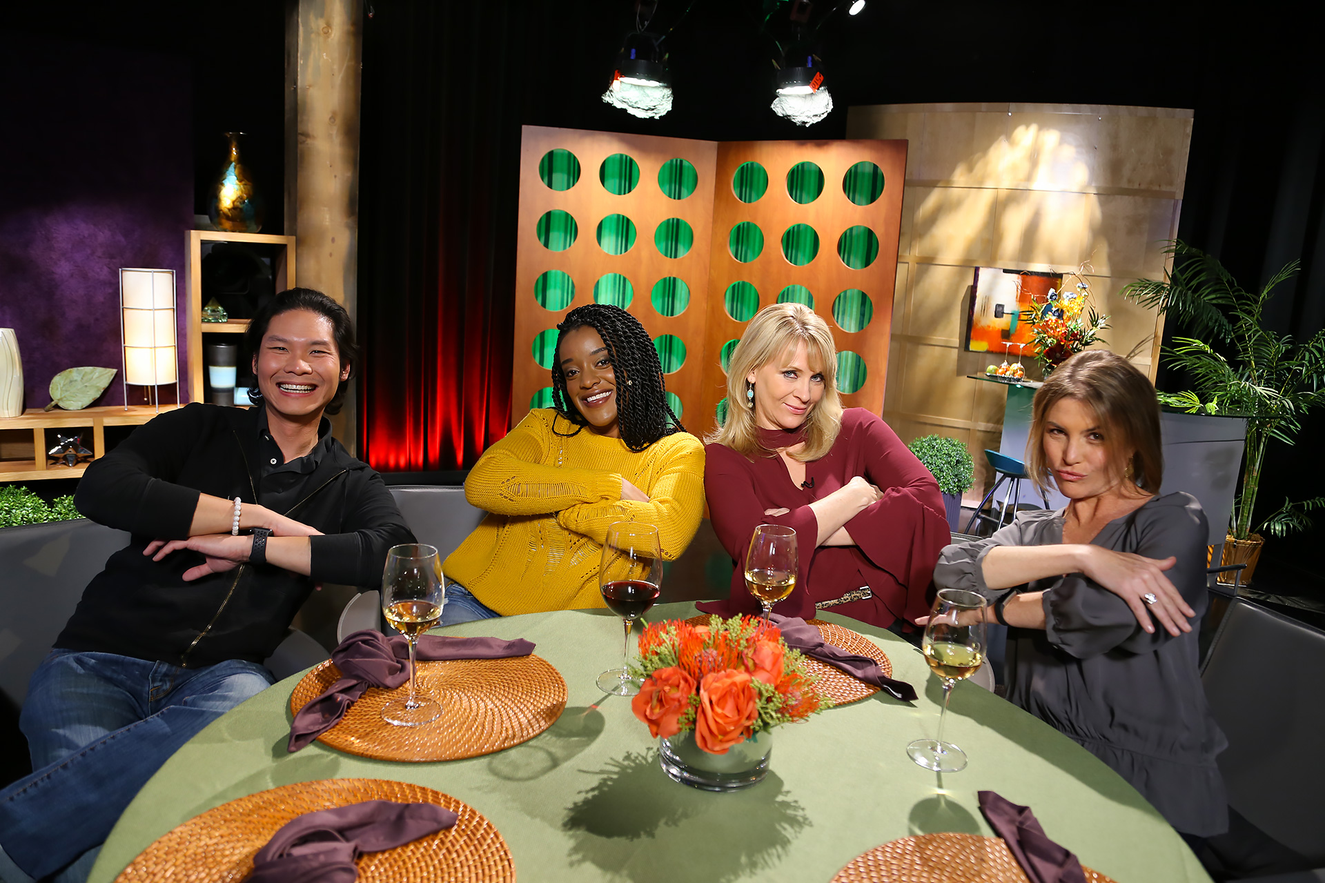 Host Leslie Sbrocco and guests having fun on the set of season 13 episode 8.