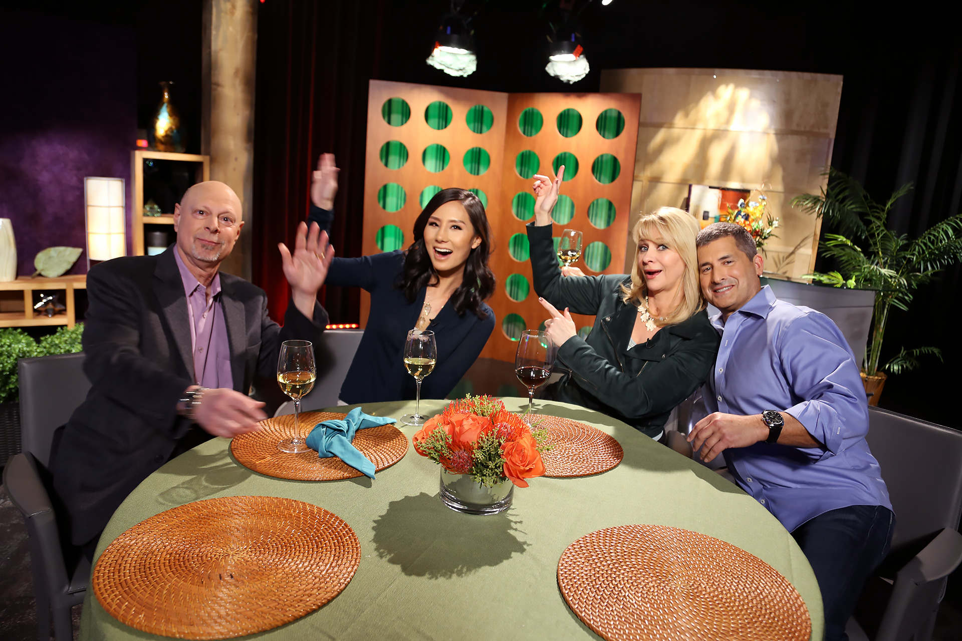 Host Leslie Sbrocco and guests having fun on the set of season 13 episode 7.