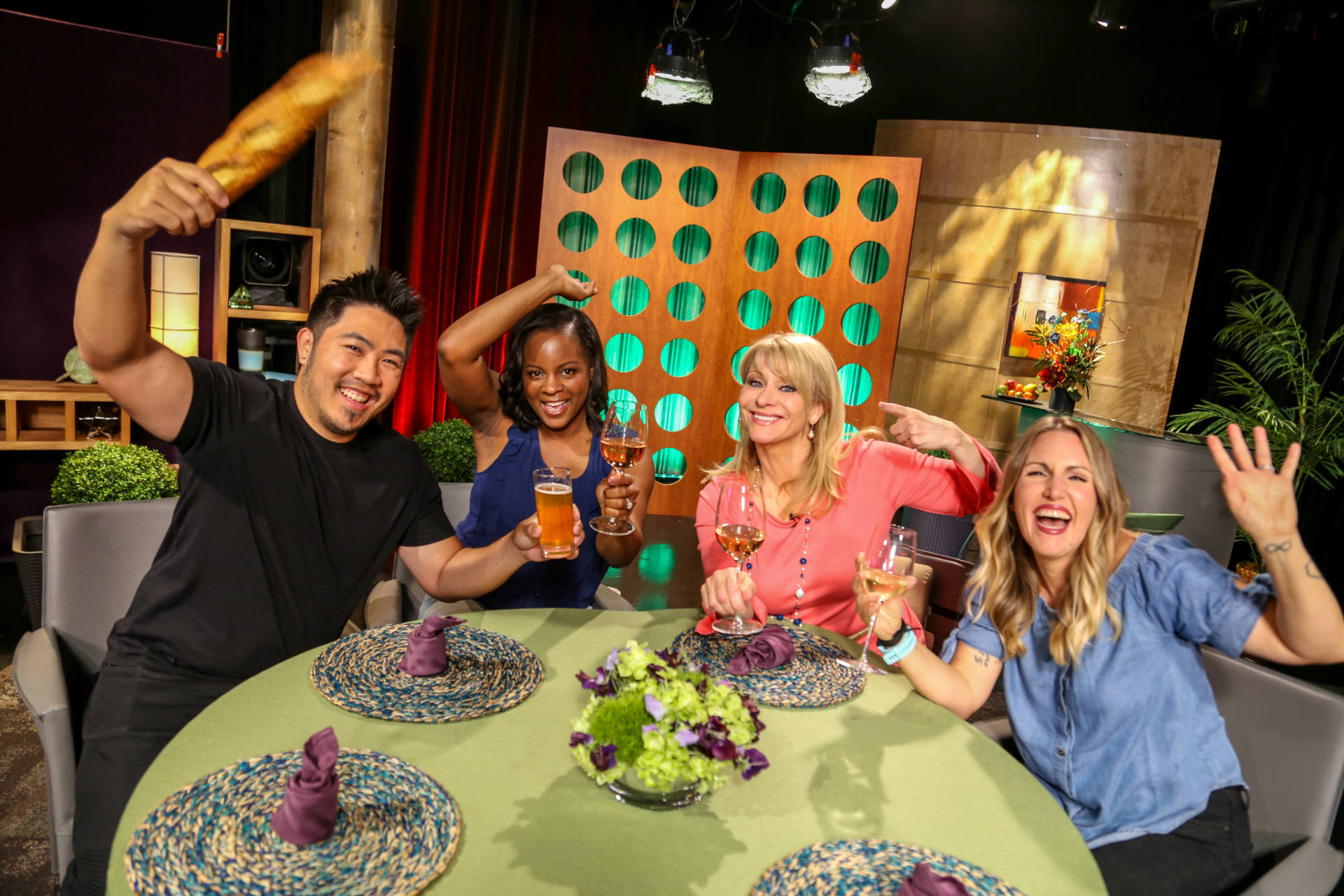 Host Leslie Sbrocco and guests on the set of season 13 episode 12.