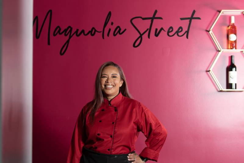 Shows Leilani Baugh at her restaurant Magnolia Street