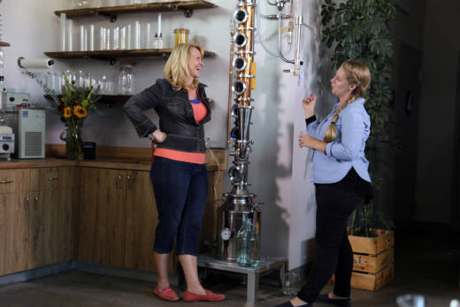"""Taste This,"" host Leslie Sbrocco joins head distiller Caley Shoemaker at Hangar 1 in Alameda to learn the secret to making vodka drinkable…just add water!"