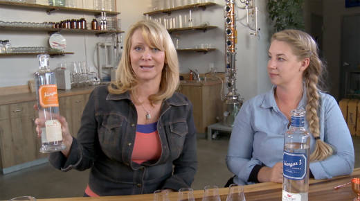 Leslie Sbrocco, host of Taste This, visits with Caley Shoemaker, head distiller at Hangar One