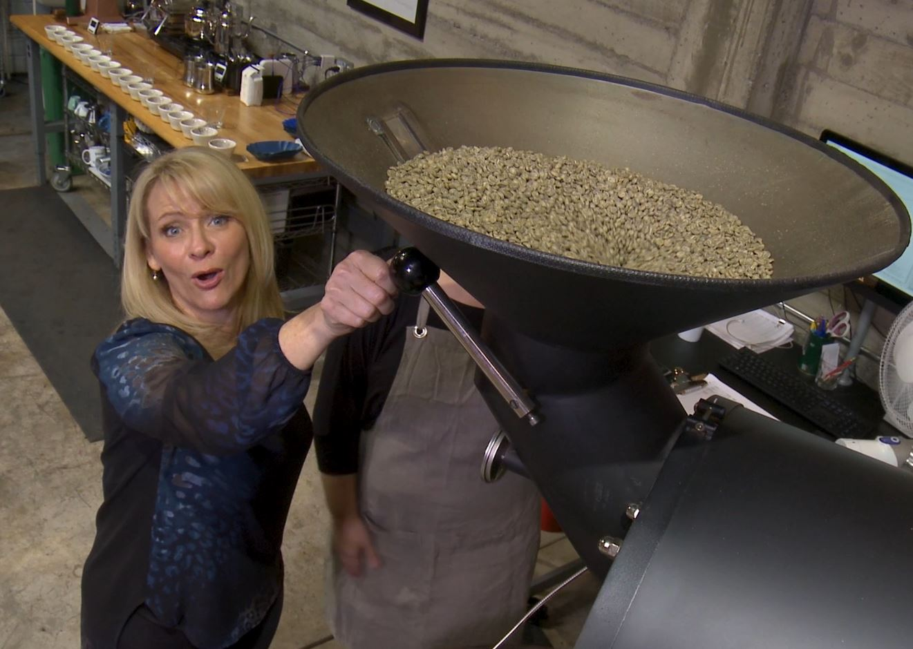 Grinding beans at Wrecking Ball Coffee Roasters