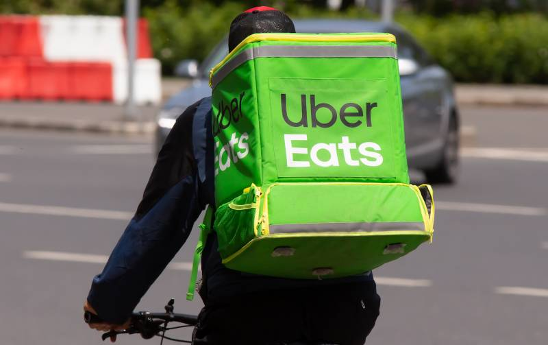 UberEats delivery person on a bike