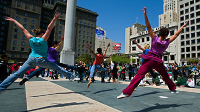 Dancers participate in a Bay Area Dance Week kickoff event.