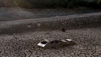 The now-dry Almaden Reservoir in San Jose