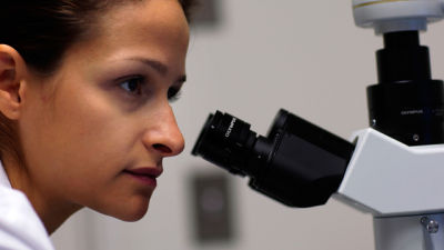 A researcher with a microscope