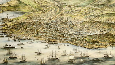 A bird's eye view map of San Francisco in 1873