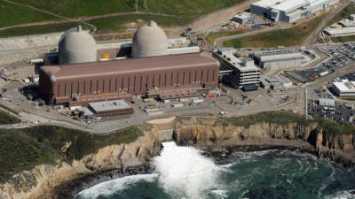 Aerial view of the Diablo Canyon Nuclear Power Plant which sits on the edge of the Pacific Ocean at Avila Beach in San Luis Obispo County, California on March 17, 2011.
