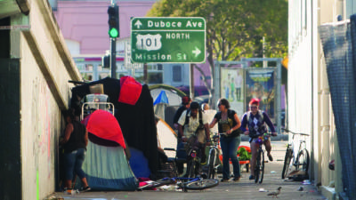 A homeless encampment in San Francisco's Mission District.
