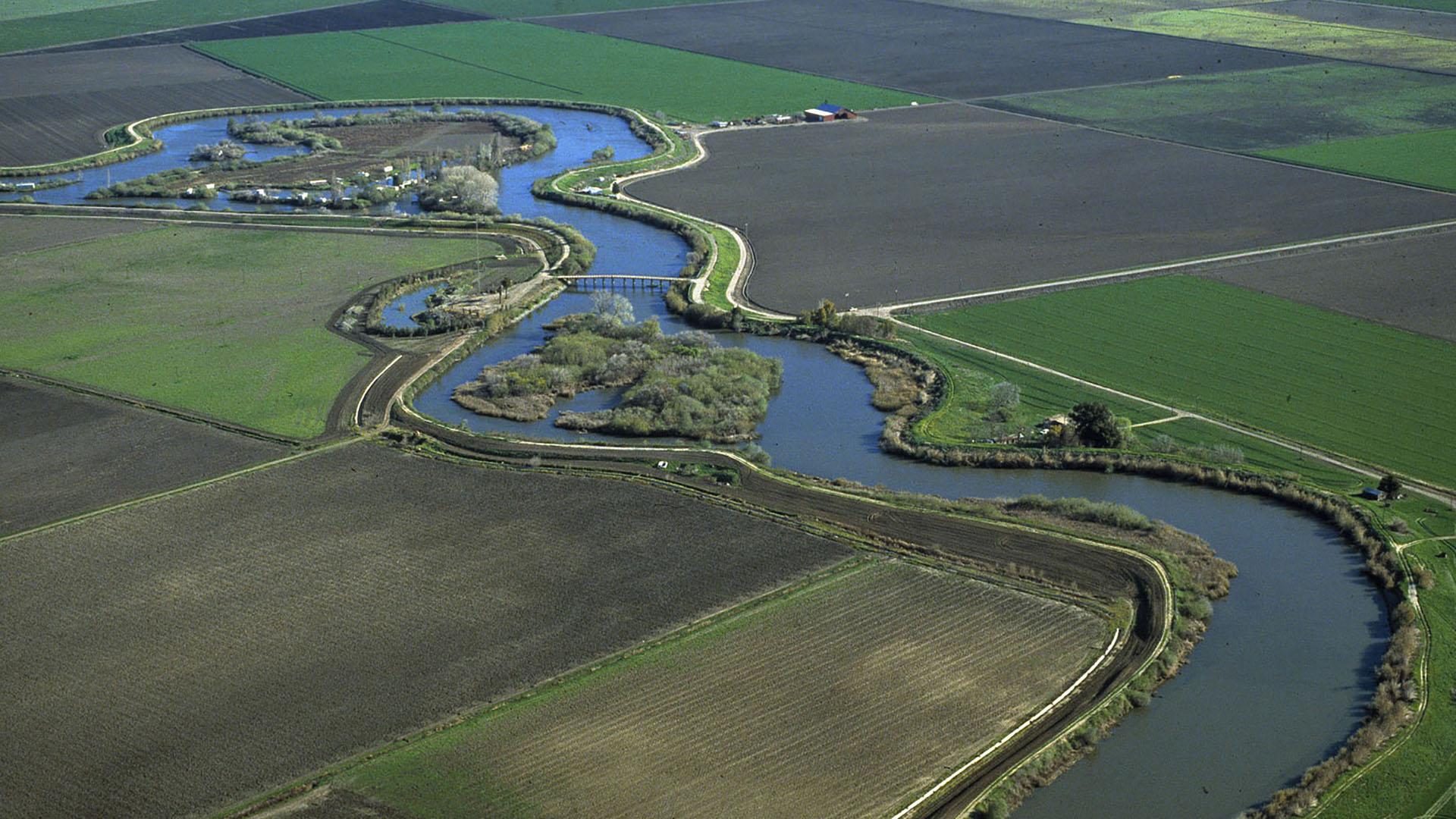 Aerial view of the San Joaquin/Sacramento River delta.