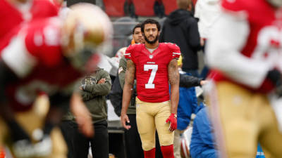 Colin Kaepernick #7 of the San Francisco 49ers watches Blaine Gabbert #2 play quarterback during their game against the Atlanta Falcons at Levi's Stadium on November 8, 2015 in Santa Clara, California.