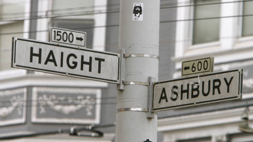 The corner of Haight and Ashbury marks the center of the famous Haight-Ashbury district of San Francisco, California, 16 June 2007.