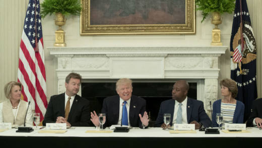 President Donald Trump (C) delivers remarks on health care and Republicans' inability thus far to replace or repeal the Affordable Care Act, during a lunch with members of Congress in the State Dining Room of the White House on July 19, 2017 in Washington, DC. Also in the picture (L to R); Sen. Shelley Moore Capito (R-WV), Sen. Dean Heller (R-NV), Sen. Tim Scott (R-SC) and Sen. Lisa Murkowski (R-AK).