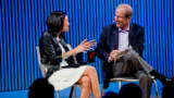 Mina Kim and Michael Krasny in conversation during Forum's 30 year celebration on September 12, 2017.