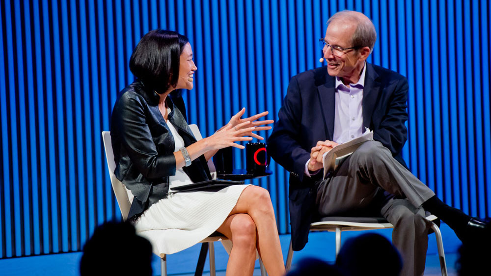 Mina Kim and Michael Krasny talking