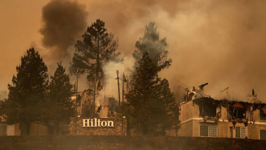 Smoke continues to rise from the Hilton Sonoma Wine Country on October 9, 2017 in Santa Rosa, California.