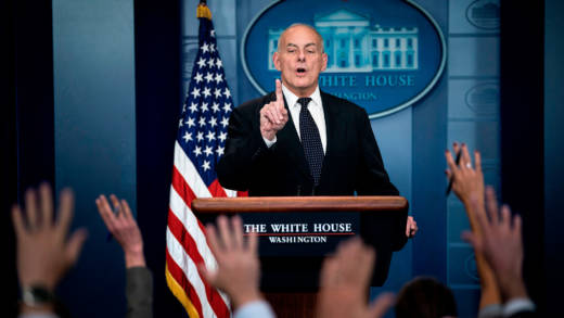 White House Chief of Staff John Kelly speaks about President Trump's calls to fallen service members next of kin during a briefing at the White House October 19, 2017 in Washington, DC.