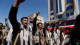 Yemenis take part in a demonstration calling for the Saudi-led coalition's blockade to be lifted, on November 13, 2017, in the rebel-held capital Sanaa.