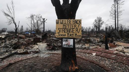 A sign is posted on a tree in front of a burned home in the Coffey Park neighborhood on November 13, 2017 in Santa Rosa, California