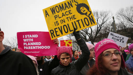 Protesters march during the Women's March on Washington on January 21, 2017 in Washington, DC.
