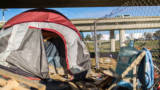 The homeless camp of Jarrett Keesling and Kelli Lengele, whom are among the hundreds of homeless Contra Costa Health Services (CCHS) interacted with as it conducts its annual count of homeless county residents Thursday, Jan. 26, 2017 in Contra Costa County.