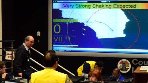 A screen shows the countdown to the moment a simulated 7.8 magnitude earthquake hits at the Command Center during a functional exercise for first responders in a simulated earthquake drill on March 21, 2013 at the Office of Emergency Management in Los Angeles, California. This year's exercise featured the California Integrated Seismic Network's Earthquake Early Warning Demonstration System, as seen on screens pictured here.