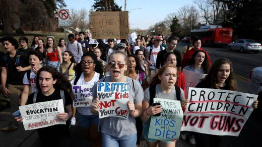 Students from Montgomery Blair High School march down Colesville Road in support of gun reform legislation February 21, 2018 in Silver Spring, Maryland.