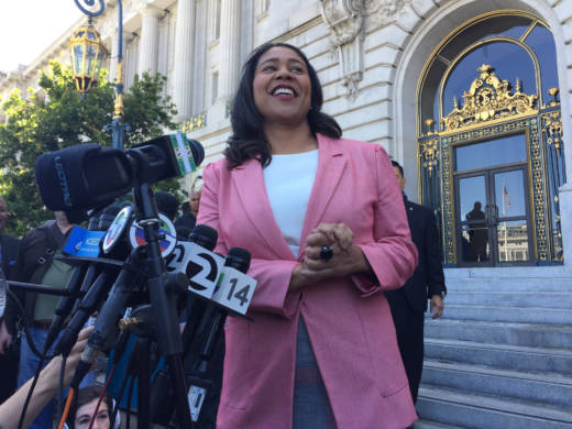 London Breed speaks to reporters and supporters from the steps of San Francisco's City Hall after Mark Leno conceded the race for San Francisco mayor on June 13, 2018.