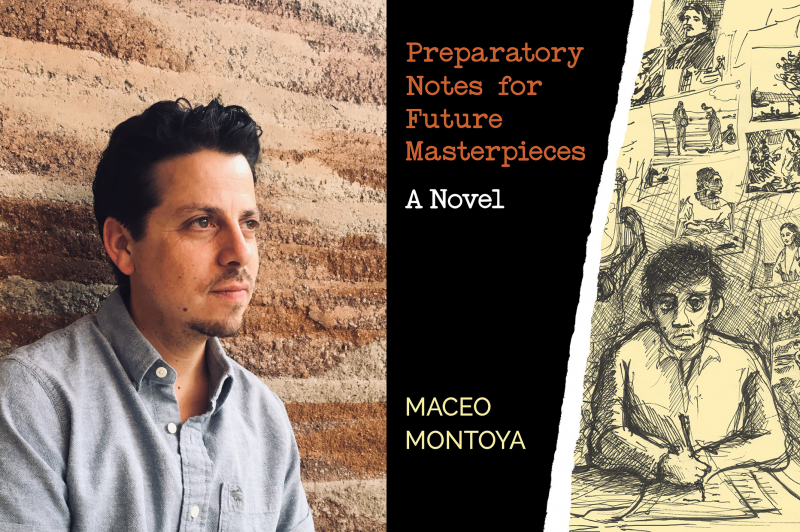 """Headshot of Maceo Montoya and cover of his book """"Preparatory Notes for Future Masterpieces"""""""