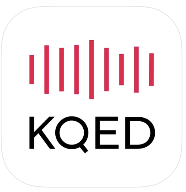 KQED Mobile App icon - red vertical stripes on a white background with black KQED logo