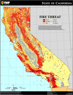CalFire's map of statewide fire threat