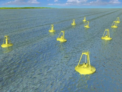 Wave energy buoys proposed for Reedsport, OR (artist's conception). Photo by Tom Banse.