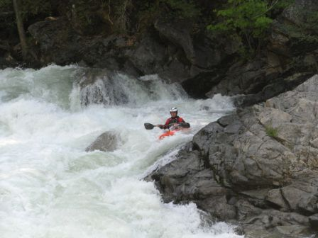A paddler takes on the Clavey. Photo:
