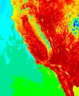 California heat wave, from the Aqua satellite. Image: NASA