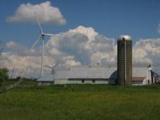 Windmills dwarf a dairy farm in upstate New York. Photo: Craig Miller