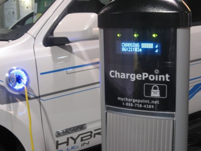 Electric Vehicle Charging Stations that are sold by Coulomb Technologies out of the Silicon Valley. Photo: Rob Schmitz