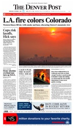 Front page of Wednesday's Denver Post