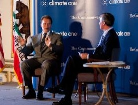 Gov. Schwarzenegger fields questions from Greg Dalton of the Commonwealth Club's Climate One initiative. Photo: Governor's Office