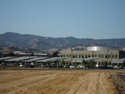 Solar panels shade the parking lot at Genentech in Vacaville.
