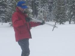 Snow surveyor Frank Gehrke at the Phillips Station survey site. Photo: Gretchen Weber