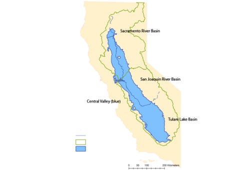Groundwater basins in the Central Valley. Image: NASA