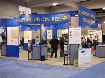 European Union exhibit at AAAS. Some attendees commented that the exhibit hall seemed sparse this year. Photo: Craig Millerl