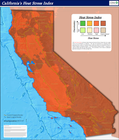 Projected Heat Stress in California for 2070-2100 (Map: The Nature Conservancy)