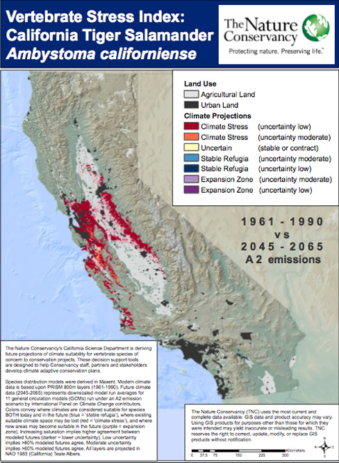 Projected changes in California Salamander habitat (Map: The Nature Conservancy)
