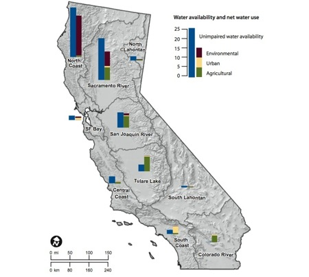 "Map shows where Californians are ""overdrawn"" in their water use. (Source: PPIC/Managing California's Water)"