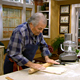 Jacques Pepin rolls out dough for puff pastry