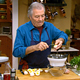 Jacques Pepin preparing eggs in Eggs-quisite